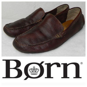 BORN 10 LOAFERS Driving MOCS SHOES Brown LEATHER